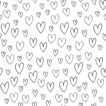 Hand drawn vector seamless pattern with hand drawn doodle hearts isolated on white background.