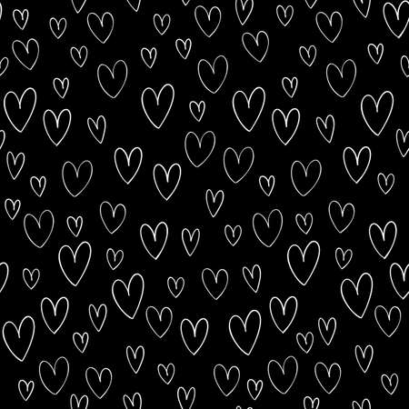 Hand drawn vector seamless pattern with hand drawn doodle hearts isolated on black background. Ilustrace