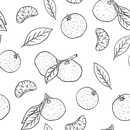 Hand drawn vector black and white outline tangerine seamless pattern Ilustrace