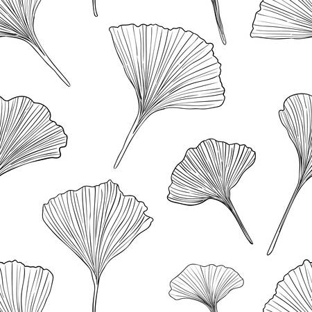 Hand drawn vector black outline ginkgo leaves seamless pattern isolated on white background. Good for fabric, wallpaper or package.