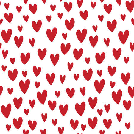 Hand drawn vector red doodle hearts seamless pattern illustration.