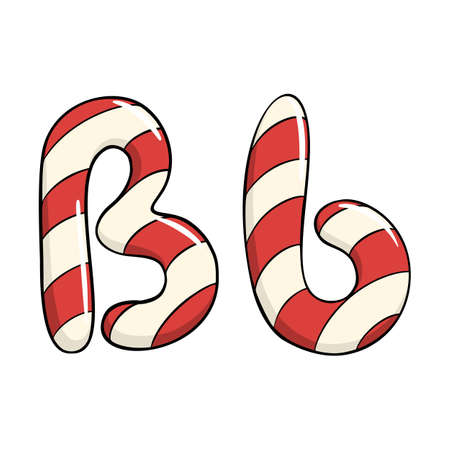 Hand drawn vector candy cane letter B