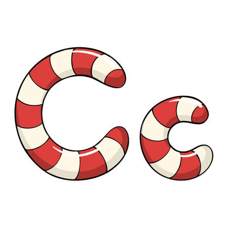 Hand drawn vector candy cane letter C