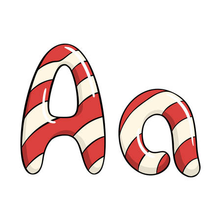 Hand drawn vector candy cane letter A Ilustrace