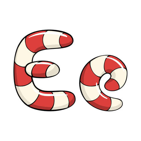 Hand drawn vector candy cane letter E