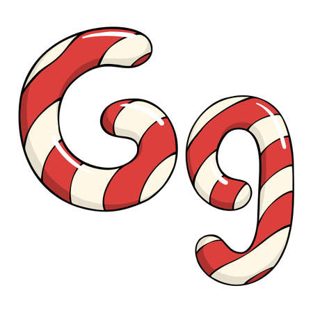 Hand drawn vector candy cane letter G Ilustrace