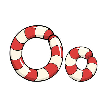 Hand drawn vector candy cane letter O