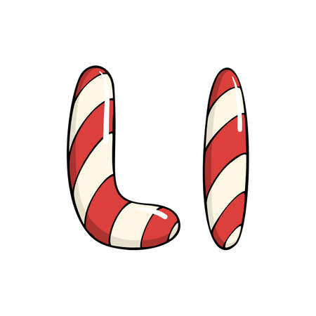 Hand drawn vector candy cane letter L