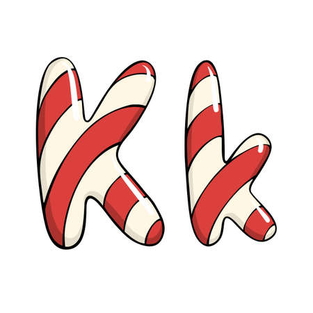 Hand drawn vector candy cane letter K Ilustrace