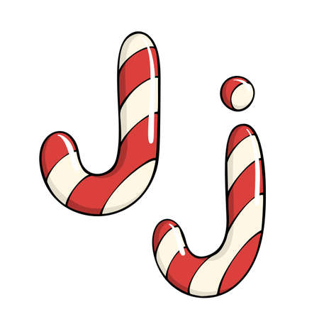 Hand drawn vector candy cane letter J