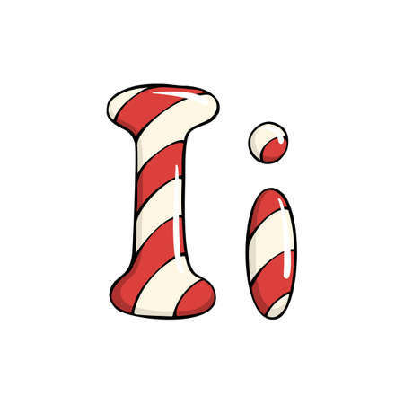 Hand drawn vector candy cane letter I