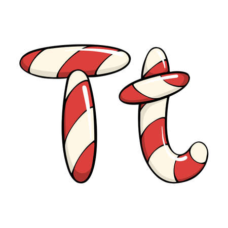 Hand drawn vector candy cane letter T Ilustrace