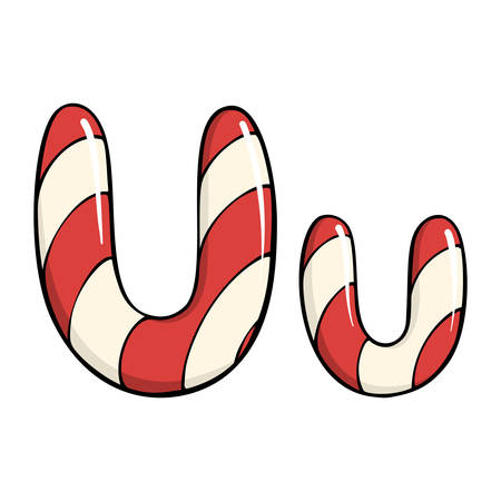 Hand drawn  candy canes shaped in letter U. Vector illustration on white background.