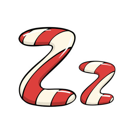 Hand drawn vector candy cane letter Z