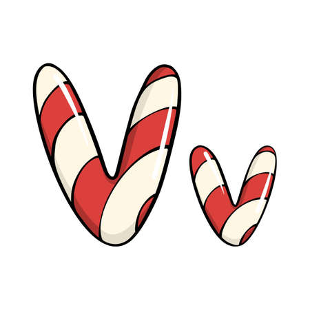Hand drawn vector candy cane letter V