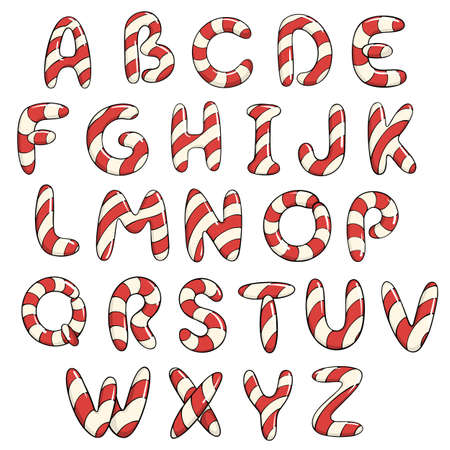 Hand drawn vector candy cane of capital letters. Stock Illustratie