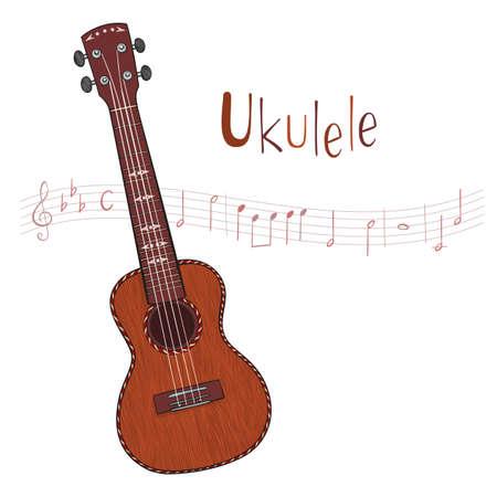 Hand drawn vector ukulele isolated on white background