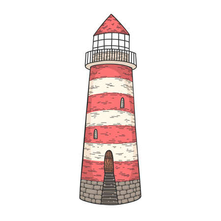 Hand drawn vector cartoon lighthouse isolated on transparent background