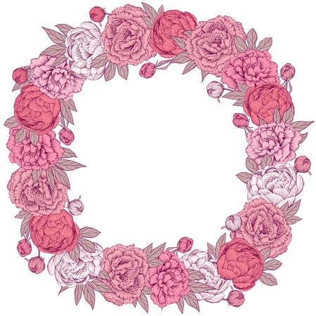 Hand drawn pink vector peony flowers wreath