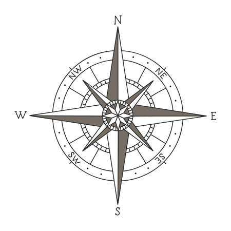 Hand drawn vector compass isolated on white background Vettoriali