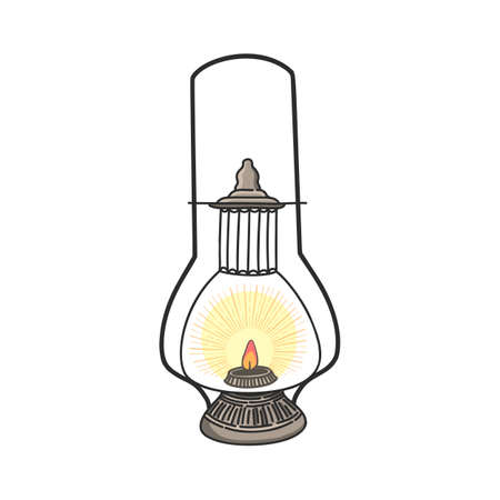 Hand drawn vector cartoon lantern isolated on white background