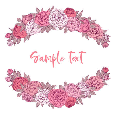 Hand drawn gentle pink vector peony flowers frame