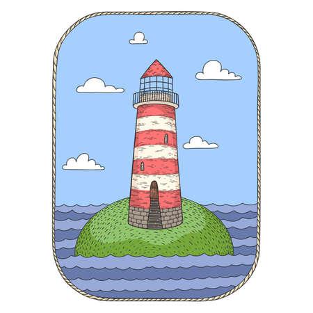 Hand drawn vector cartoon lighthouse on an island isolated on transparent background