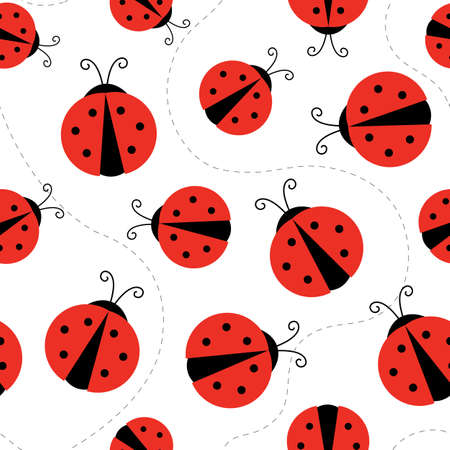 Flat cartoon style vector ladybug pattern, perfect for fabrick or package