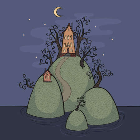 Vector cartoon illustration of houses on islands at night