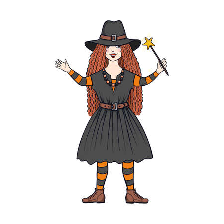 Hand drawn vector cartoon witch girl isolated on white background
