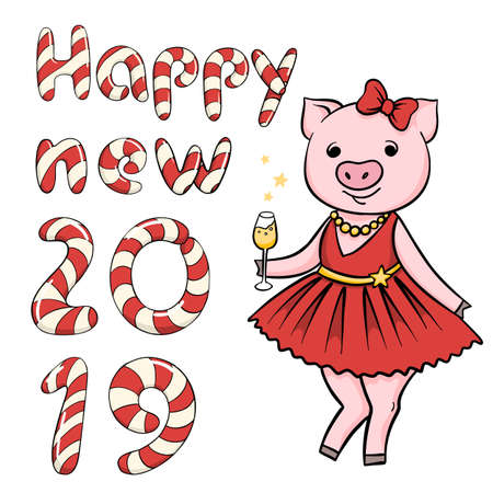 Hand drawn vector cartoon pig and candy cane lettering greeting isolated on white background Ilustrace