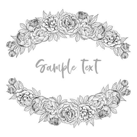 Hand drawn outline vector peony flowers frames on white background, good for coloring Ilustrace