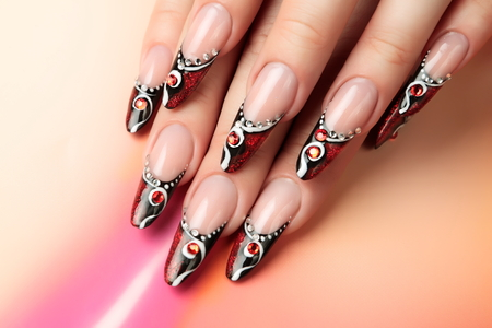 long nails: Nail art design.
