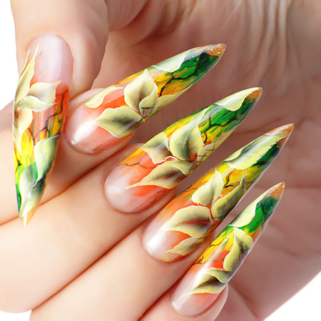 Nail design: Autumn Art nail.Close up.