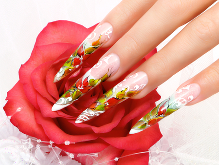 Wedding nail art design.