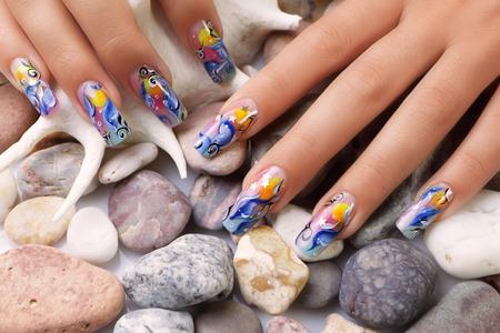 Marine design on nails. Stok Fotoğraf