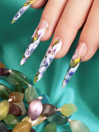 acrylic nails: Floral design on nails.