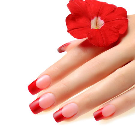 Red french manicure. Фото со стока