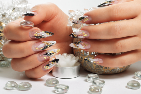 gel: Design female nails. Stock Photo
