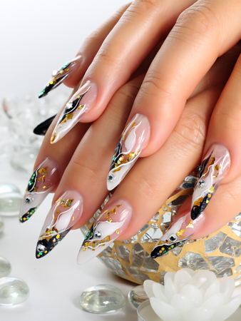 nails manicure: Design female nails. Stock Photo