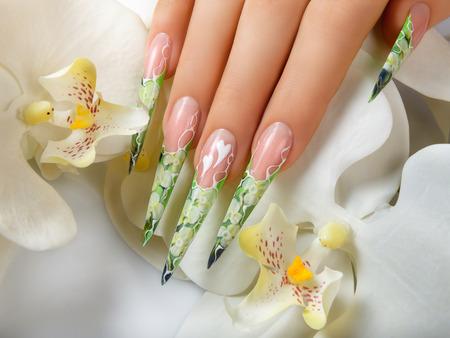 Beauty Spring Nail Design. 写真素材