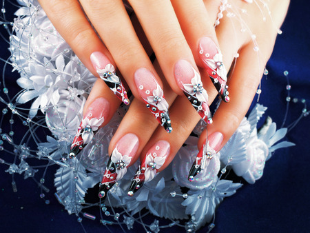 nail art: Wedding nail design.