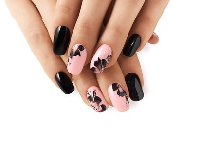 Abstract floral pattern on pink nails black. Stok Fotoğraf - 66087159