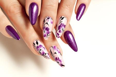 Usługi paznokciowe. Samica manicure i wzory kwiatowe. Zdjęcie Seryjne