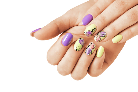 Summer manicure with a butterfly pattern. Isolated.
