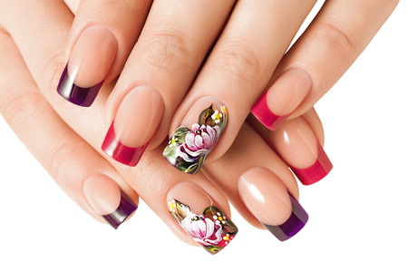 Female manicure and floral patterns. Isolated on white.