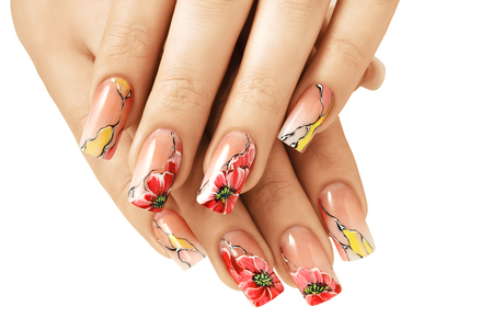 Nail extensions. Manicure and flower painting. 写真素材