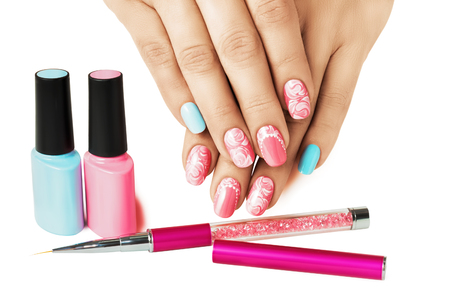 Blue and pink nails. Pastel art design. Female manicure.