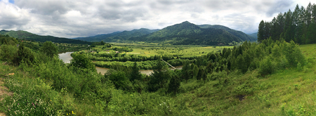 Panoramic view of the Stryi River valley near Rybnyk village, Ukraine
