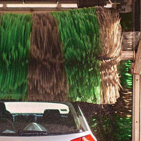 Automatic car wash service in action